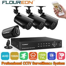 FLOUREON CCTV System 4CH 1080P 5in1 AHD DVR 1500TVL Outdoor IR Security Camera