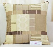 "CUSHION COVER 17""x17"" Fryetts Prague Natural Patchwork Chenille"
