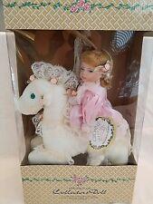 Doll CROWNE Fine Porcelain Blonde Doll Hand Painted White Horse 1998 ARTMARK