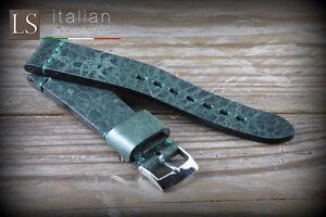 20 22 Genuine Italian Handmade Leather LS ILLINOIS Vintage Watch Strap Green
