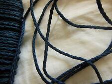 fin cordon vintage bleu rond effet tréssé 10 mètres sur 0,2 cm