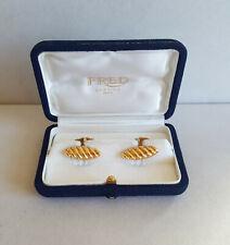RARE Signed FRED Paris 18k yellow gold cufflinks original box 11 grams