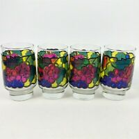 Set of 4 Libbey Stained Glass 12 oz. Flat Tumblers Fruit c.1973 Vintage