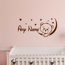 Bear Moon Star Customize Name Wall Sticker Cute Personalized Nursery Room Decal