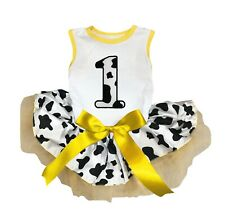 Birthday 1ST Cotton Top Leopard Cow Dots Sequins Tutu Pet Cat Puppy Dog Dress