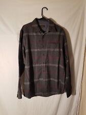Club Room Charcoal Gray Mens Size M Button Down Plaid Shirt Winter Warm Heavy