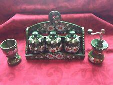 Hungarian Folk Art Wood Handpainted Spice Pots & Rack/Egg Cup/Mill New & Unused