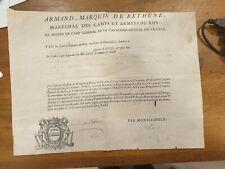 ARMAND MARQUIS DE BETHUNE RECONNAISSANCE A UN CAPITAINE DE CAVALERIE 1751