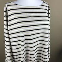 Ruby Rd. Women's 3/4 Sleeve Tee Top Plus Size 2X Black Tan White, Stripe
