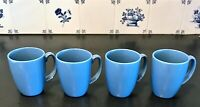 4 CORELLE CORNING WARE MEDIUM BLUE COFFEE MUG / CUP 11 OZ. LIVINGWARE
