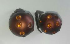 Orecchini a Clip Vintage color bronzo a forma sferica con brillantini