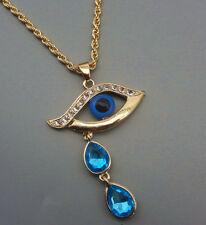 Vergoldet Nazar Türkisches Blau Auge Träne Kristall Anhänger Kette Halskette