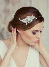 LARGE AUSTRIAN CRYSTAL BRIDAL  LEAF BOQUET HAIR COMB  UK SELLER