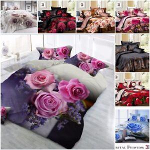 Duvet Cover set 3D Rose Prints Christmas Bedding Sets Pillowcases Double & King