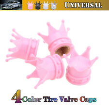 Valve Tire Stem Cap Bling Diamond Air Cover Trim For Car Motor Wheel Pink Crown