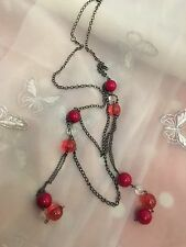"""Lovely Chain Necklace With Bauble Pink Beads 30"""" Adjustable Length Mixed Pinks"""