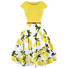 50's Ladies Vintage Housewife Prom Evening Party Flared Womens Skater Midi Dress