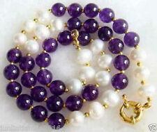 Natural 7-8mm White Freshwater Pearl & 8mm Purple Amethyst Necklace 18''