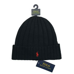 Polo Ralph Lauren Men's Wool Beanie Skull Cap Winter Hat One Size Black / Red