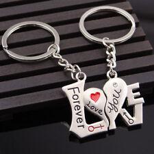 2pcs Metal Heart Key Ring Unique Keyfob Couples Romantic Keyfob Lover Keychain