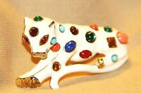 WHIMSICAL KENNETH  J. LANE  ENAMEL & JEWELED PANTHER/ LEOPARD CAT BROOCH PIN
