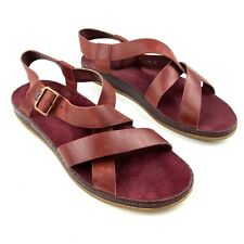Chaco Women's Wayfarer Red Leather Straps Sandals Sz 9M Open Toe