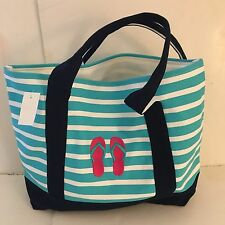 FLIP FLOPS CANVAS STRIPED beach cotton natural tote bag EMBROIDERED PINK NEW