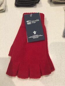 Johnstons Of Elgin Cashmere Gloves Fingerless Crimson Red Made In Scotland Soft