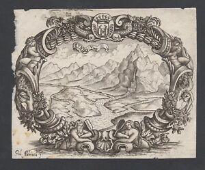 Petite gravure ancienne Italie ~1700 signée Gius. ABBIATI - armoiries ex libris