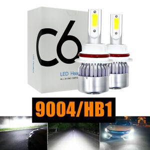 2PCS 9004 HB1 6000K HID White LED Headlight Bulb Kit High + Low Beam 4000LM 36W