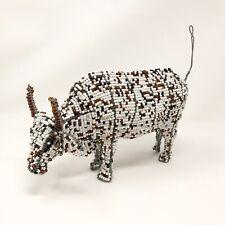 Handmade African Beaded Wire Animal Sculpture Bull Cow Zimbabwe Art