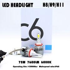 COB H8/H9/H11 C6 7600LM 72W LED Headlights Kit Turbo Light Bulbs Car DRL 6000K