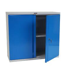 Aktenschrank Valberg H330, Metallschrank Büroschrank, 2 Türen 84x92x37cm, blau