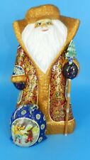 """LARGE RUSSIAN SIGNED CARVED SANTA FATHER FROST TALL 13"""" GOLD HAND PAINTED ART"""