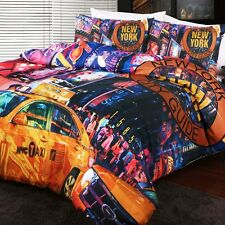 New York Times Square Duvet Doona Quilt Cover Set | NYC Broadway | Taxi | King