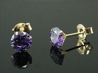 585 Gold  Ohrstecker  mit 4 Krappen 1 Paar 6 mm Grösse mit  echten Amethysten