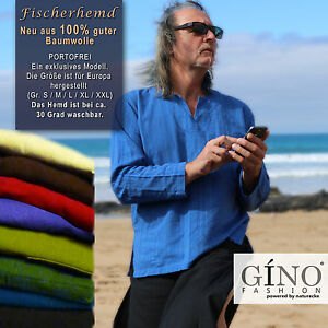 Neu Fischerhemd Hippie Freak Goa Tunika Shirt Fischershirt aus guter Baumwolle