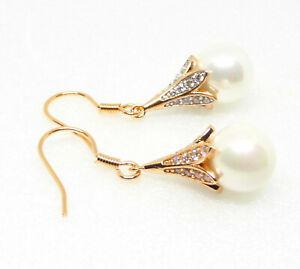 Women Hook 36mm Oriental Dangle Earrings 18K Yellow Gold Plated Shell Pearl UK