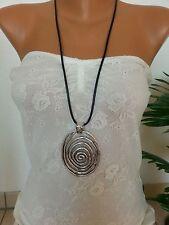 lange Halskette/ Statement Kette * Modeschmuck * Silber * Spirale * Lederband