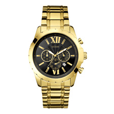 New Guess Men U0193G1 Roman Black Dial Stainless Gold IP Band Chrono Watch