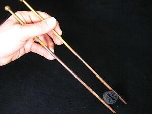 "ANTIQUE JAPANESE (c. 1920) BRONZE CHADO HIBASHI FIRE CHOPSTICKS 10.5"" ~"