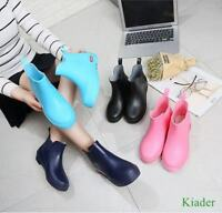 Korean Womens Pull On Waterproof Ankle Rain Boots Flats Antiskid Casual Shoes SZ