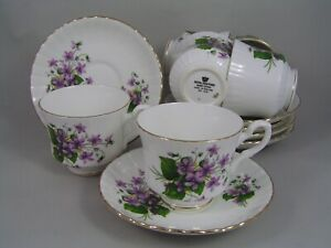 SET OF SIX ROYAL STAFFORD SWEET VIOLETS BONE CHINA CUPS AND SAUCERS
