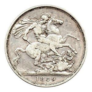 KM# 765 - One Crown - Five Shillings - Victoria - Great Britain 1889 (VF)