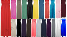 LADIES WOMEN'S NEW SHEERING BANDEAU BOOB TUBE STRAPLESS MAXI PARTY DRESS 8 - 26