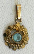 Vintage Rolled Gold Masonic Order Blue Jewel Gem Stone Pendant Medal