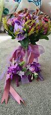Purple Wedding bouquet & flower pin & waist corsage
