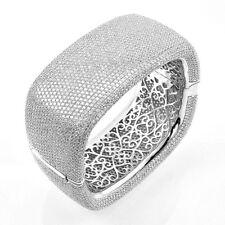 ZirconZ-Pave Signity CZ Filigree InSide Sterling Silver Square Bangle Bracelet