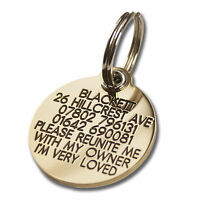 REINFORCED Deeply engraved dog tag, 33mm extra tough solid brass