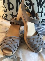 Swedish Hasbeens Braided Sky High Sandal Gray Heels Clogs Nubuck EU 38 US 8